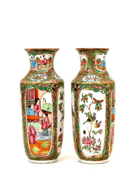 2508: 2 19C Chinese Export Rose Medallion Vase