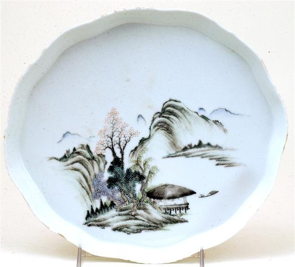 2511: Old Chinese Famille Rose Landscape Tea Plate