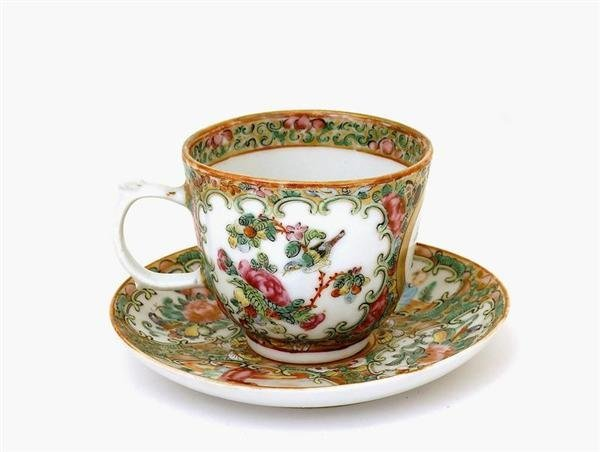 2512: 19C Chinese Export Rose Medallion Cup Saucer