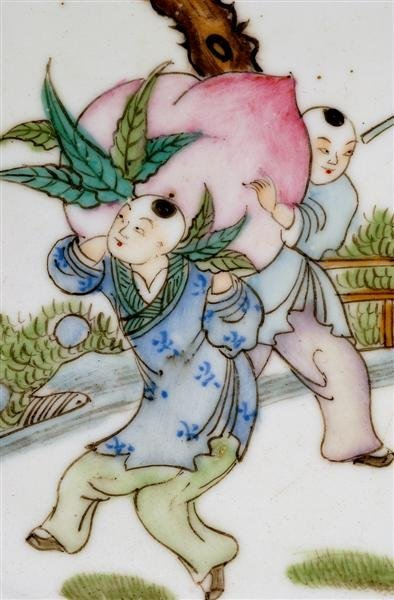 2513: Old Chinese Famille Rose Figurine Tea Plate - 3