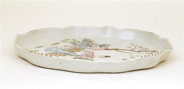 2513: Old Chinese Famille Rose Figurine Tea Plate - 5