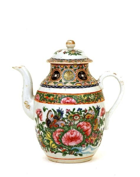 2514: Old Chinese Export Rose Medallion Coin Teapot