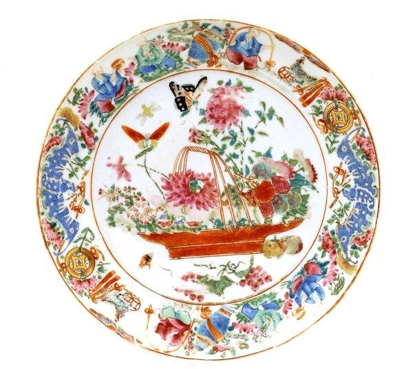 2515: 19C Chinese Export Famille Rose Figurine Plate