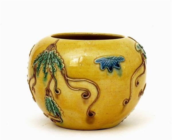 2518: Chinese Sancai Famille Rose Relief Jar Vase - 5