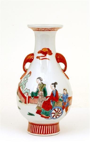 2520: Old Chinese Famille Rose Vase Figurine Mk