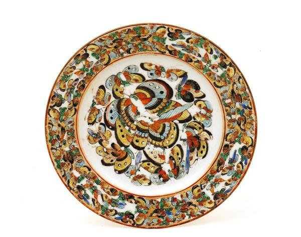 2522: Chinese Export Rose Medallion Butterfly Plate