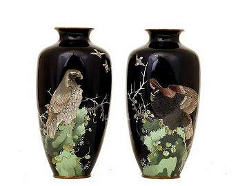 2702: 2 Meiji Japanese Cloisonne Eagle Bird Vase