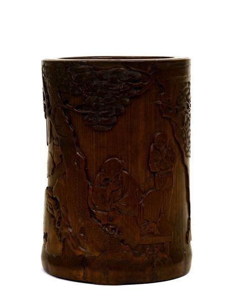 2899: 18C Chinese Bamboo Brush Holder Pot Figure