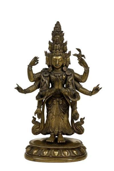 2985: 19C Chinese Tibetan Bronze Buddha Heads Arms