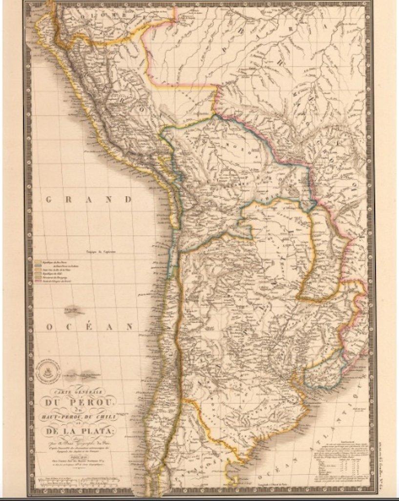 1826 Carte Generale du Perou du Haut-Perou, Du Chili et