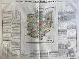 1825 Carte Geographique, Statistique et Historique Le