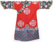 A RED-GROUND EMBROIDERED  FLOWERS  ROBE