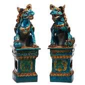 A PAIR OF CHINESE FAMILLE VERTE LIONS