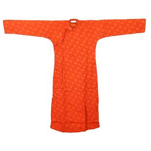 A ORANGE-GROUND EMBROIDERED LADY'S ROBE