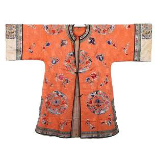 A ORANGE-GROUND EMBROIDERED FLORAL LADY'S ROBE
