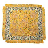 A YELLOW-GROUND GOLD-COUCHED 'NINE DRAGONS' EMBROIDERED