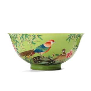 A GREEN-GROUND 'FLOWERS AND BIRDS' BOWL