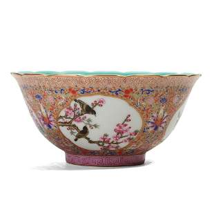 A FAMILLE-ROSE 'FLOWERS AND BIRDS' BOWL