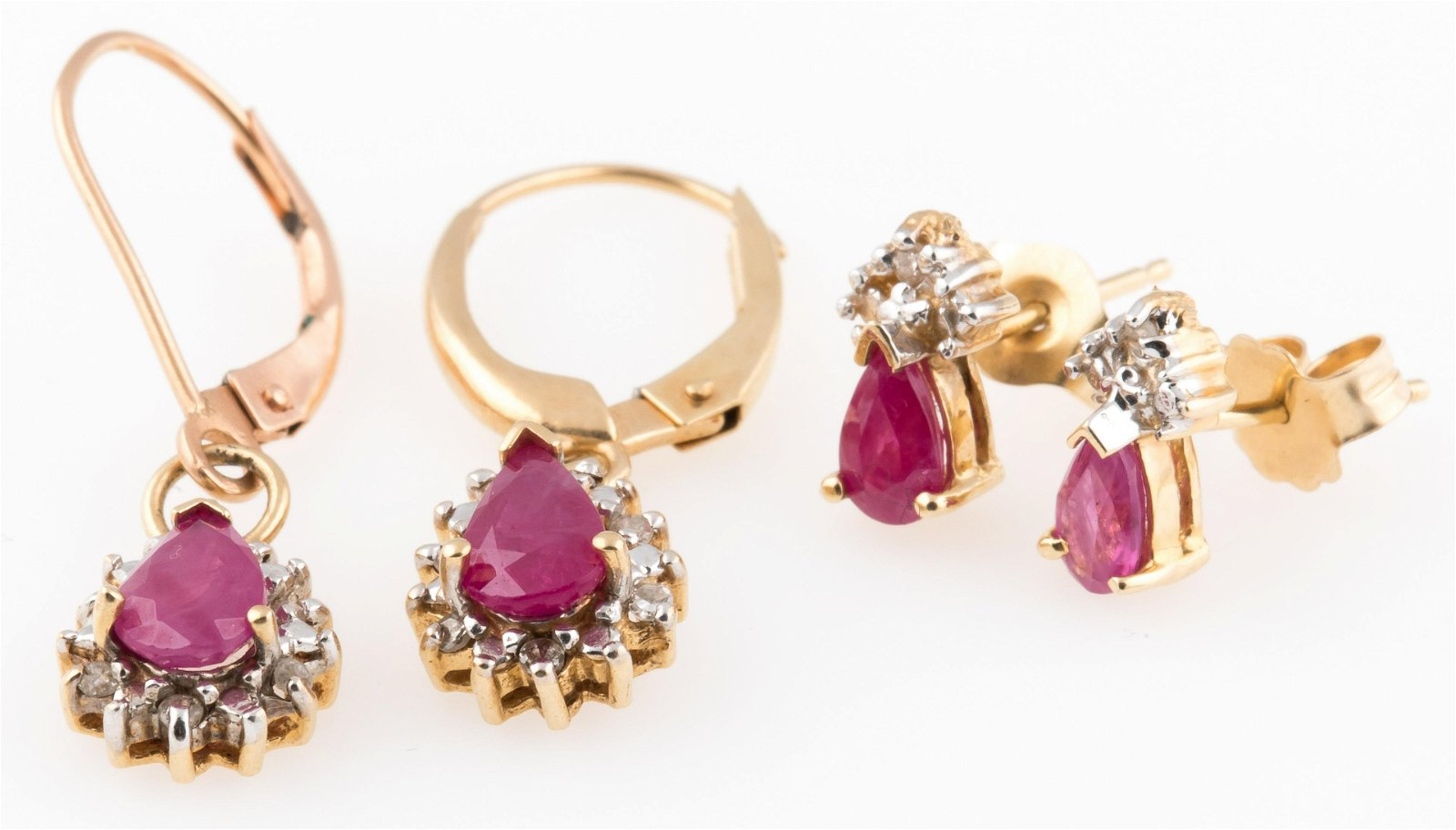 14K YELLOW GOLD & RUBY EARRINGS LOT OF 2 PAIRS