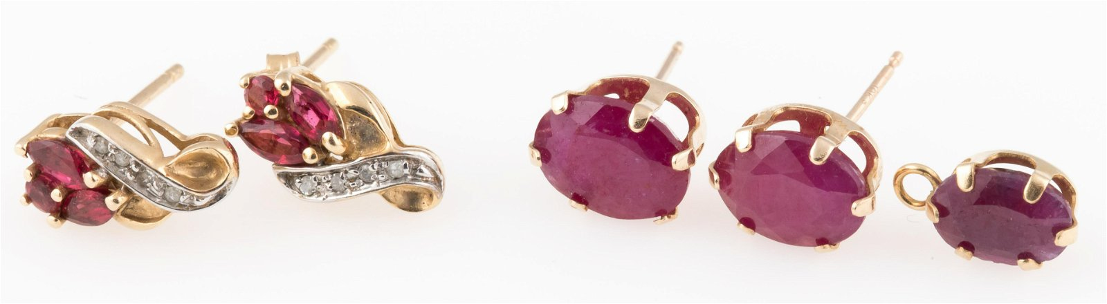 10K GOLD EARRINGS WITH GARNET AND RUBY