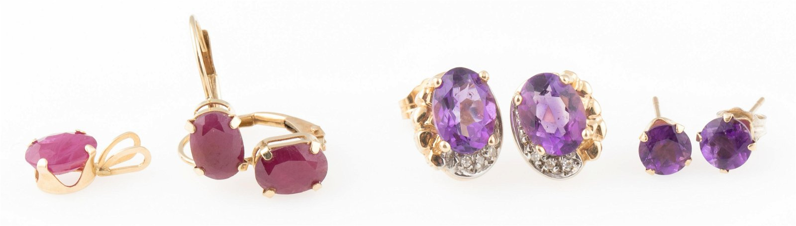 14K GOLD EARRINGS WITH RUBY AND AMETHYST