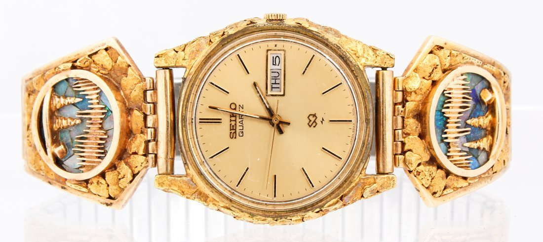 MEN'S SEIKO DAY DATE GOLD NUGGET WRISTWATCH 6923-7009