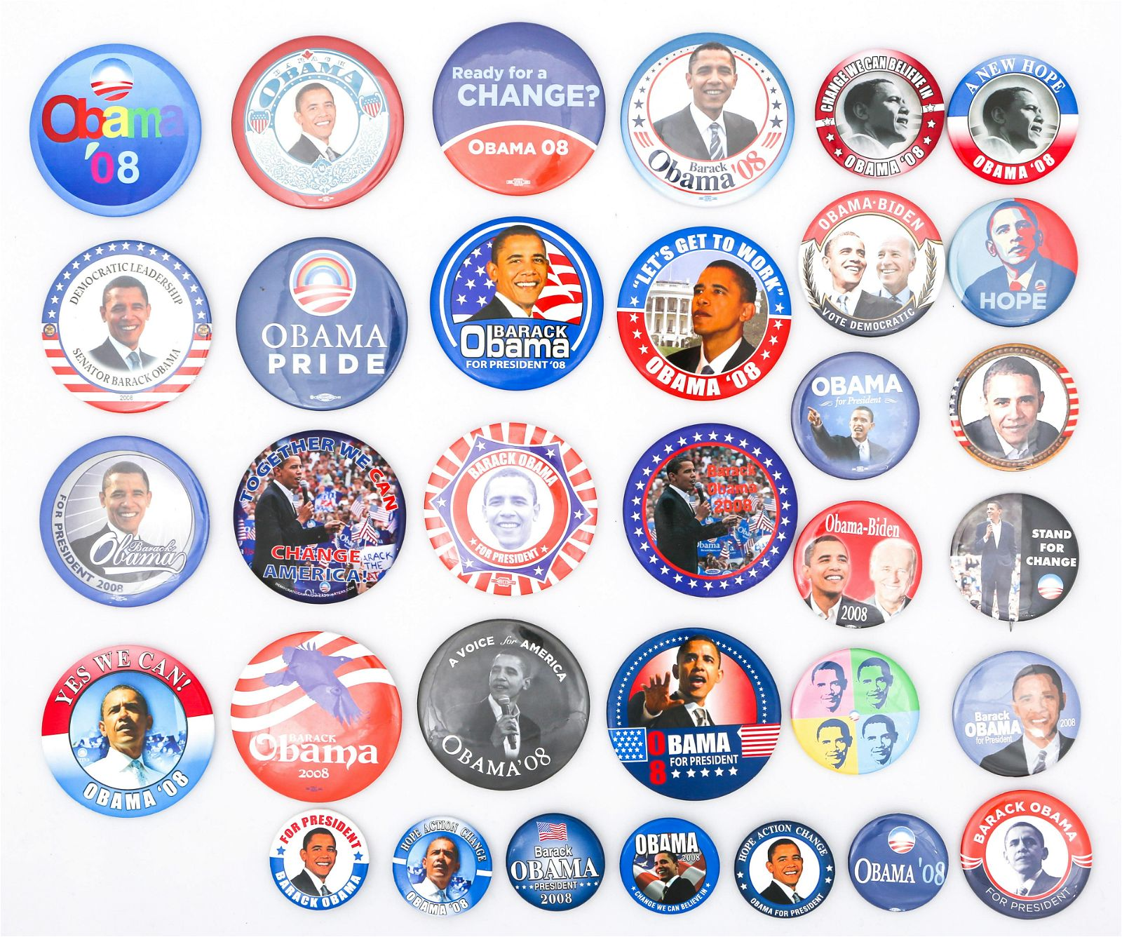 PRESIDENTIAL POLITICAL CAMPAIGN BUTTONS - OBAMA BIDEN