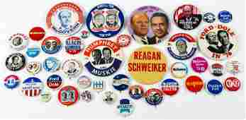 PRESIDENTIAL POLITICAL CAMPAIGN BUTTONS - 1968 TO 1976
