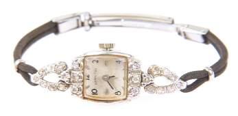 WOMEN'S 14K WHITE GOLD & DIAMOND HAMILTON WRISTWATCH