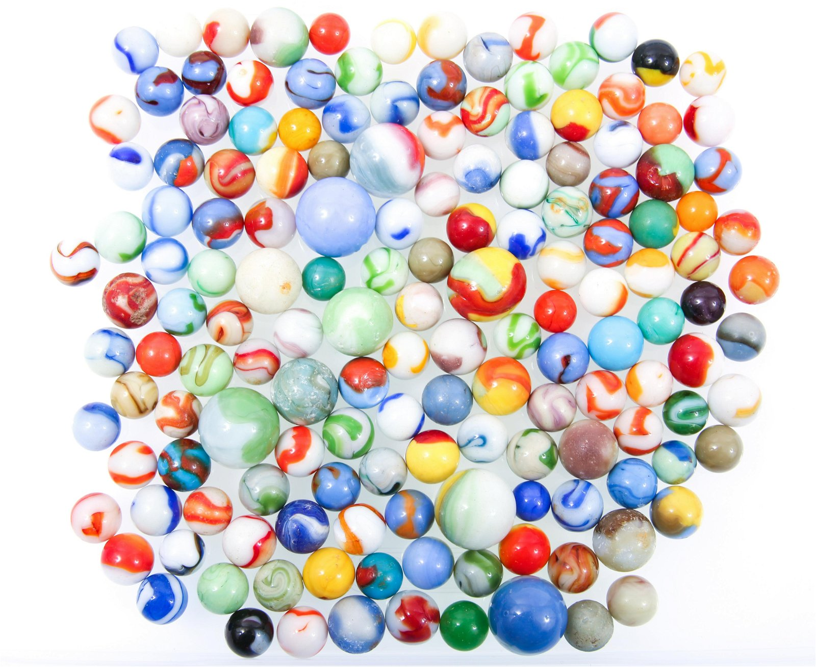 20TH C. OPAQUE SWIRL MARBLES