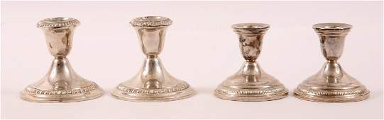 STERLING SILVER WEIGHTED CANDLESTICK SETS  LOT OF 2
