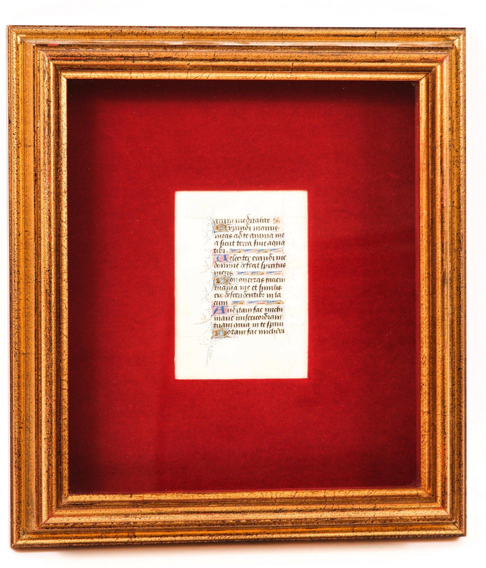 15th CENTURY BOOK OF HOURS MANUSCRIPT LEAF