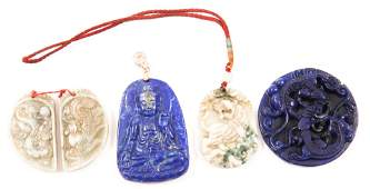 CHINESE CARVED JADE, SODALITE, & SOFTSTONE PENDANTS