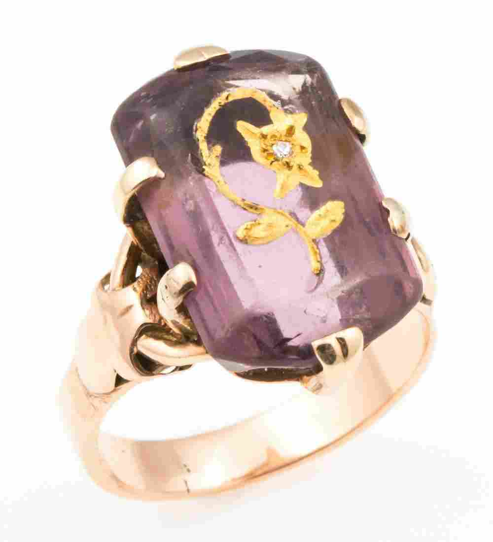 14K YELLOW GOLD VICTORIAN ROSE OF SHARON RING