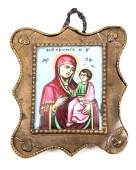 MINIATURE RUSSIAN PORCELAIN ICON METAL FRAME