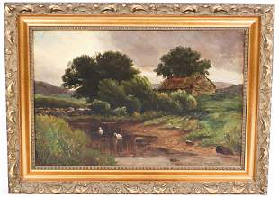 20TH C. PASTORAL SCENE WITH SWANS OIL ON CANVAS SIGNED