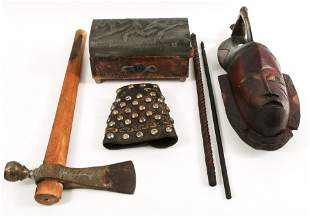 ETHNOGRAPHIC ITEMS - MASK, ARROWS, PIPE, BOX & MORE