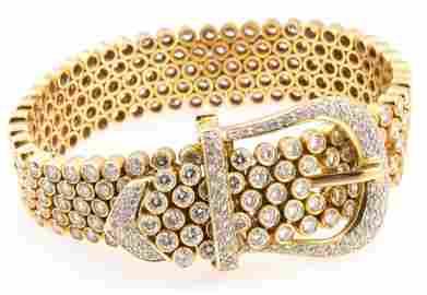18K GOLD 15 CTW VVS-VS/E-H DIAMOND BELT BRACELET