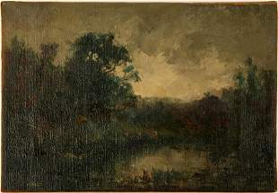 ROBERT HOPKIN 19TH C. LAKE SCENE OIL ON CANVAS