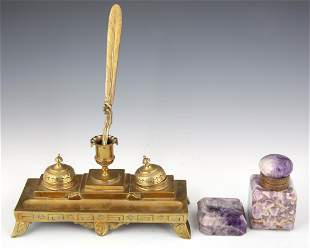 20TH C. BRASS AND STONE DESK SET