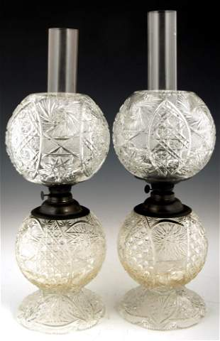 PAIR OF BRILLIANT CUT GLASS GONE WITH THE WIND LAMPS