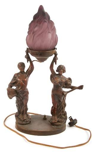 20TH C. CAST BRONZE FIGURAL LAMP W/ PURPLE GLASS SHADE