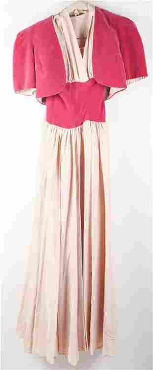 1940s HANDMADE HALTER DRESS MAGENTA VELVET & TAFFETA
