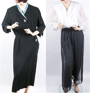 BLACK & WHITE LONG SLEEVE DRESS & JUMPER - LOT OF 2