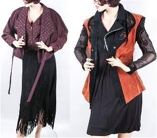 BLACK & BROWN ENSEMBLES - JACKETS, SKIRT & DRESS