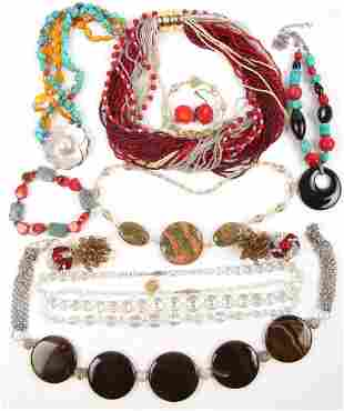 COSTUME JEWELRY NECKLACES & EARRINGS - 1.5 LBS
