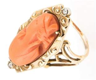 VICTORIAN 10K YELLOW GOLD CORAL CAMEO DIAMOND RING