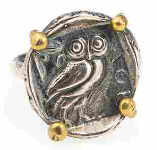 STERLING SILVER OWL OF ATHENA TETRADRACHM RING
