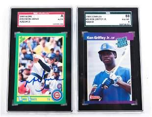 1989 DONRUSS, 1990 SCORE GRADED BASEBALL CARDS LOT OF 2