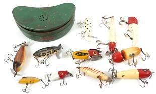 VINTAGE FISHING LURES & OLD PAL BELT TIN - LOT OF 12